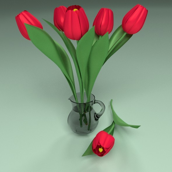 3DOcean Tulips in a glass jar 12339727