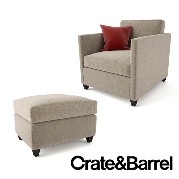 Crate and Barrel Dryden Chair and Ottoman - 3DOcean Item for Sale