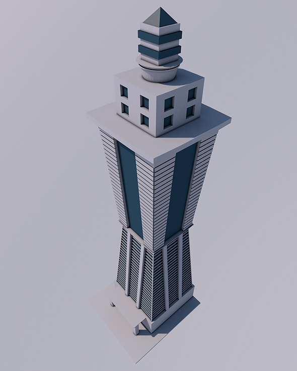 3DOcean Low Poly Skyscraper Ready to Render 12341586