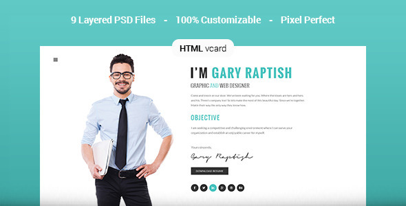 22. Raptish - Premium vCard/Resume HTML Template