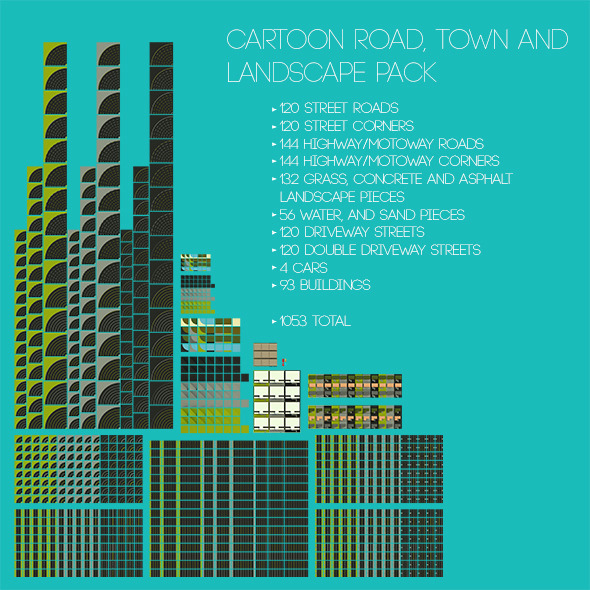 Cartoon Roads, Town and Landscape Pack - 3DOcean Item for Sale