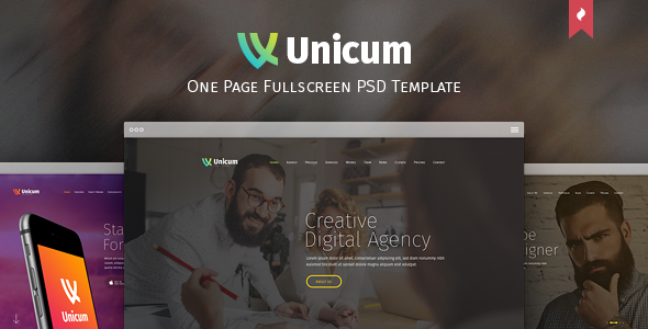 ThemeForest - Unicum - One Page Fullscreen PSD Template 12275741 - Free Download