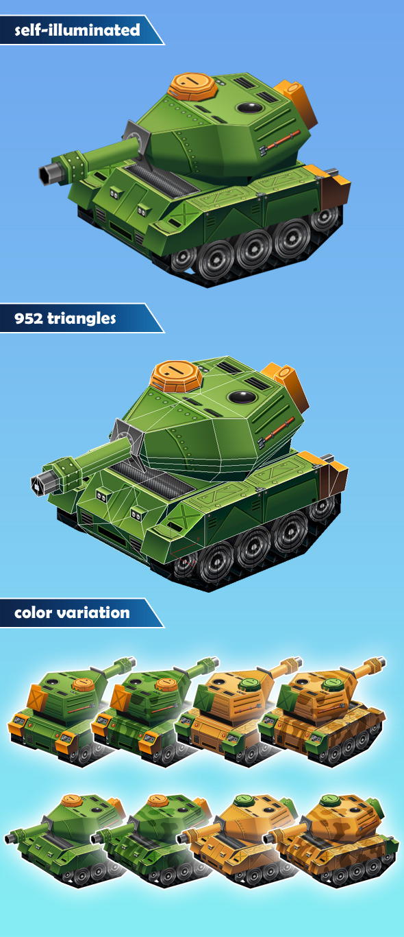 3DOcean Low Poly Tank 12348836