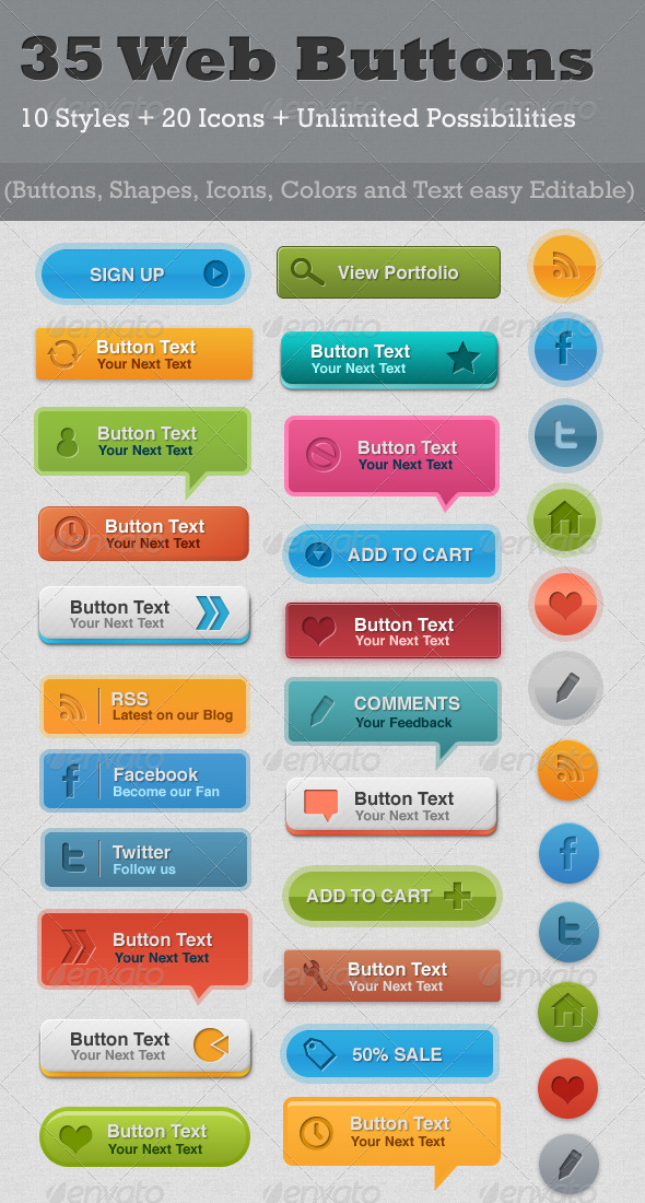 35 Resizable Web Buttons - Buttons Web Elements