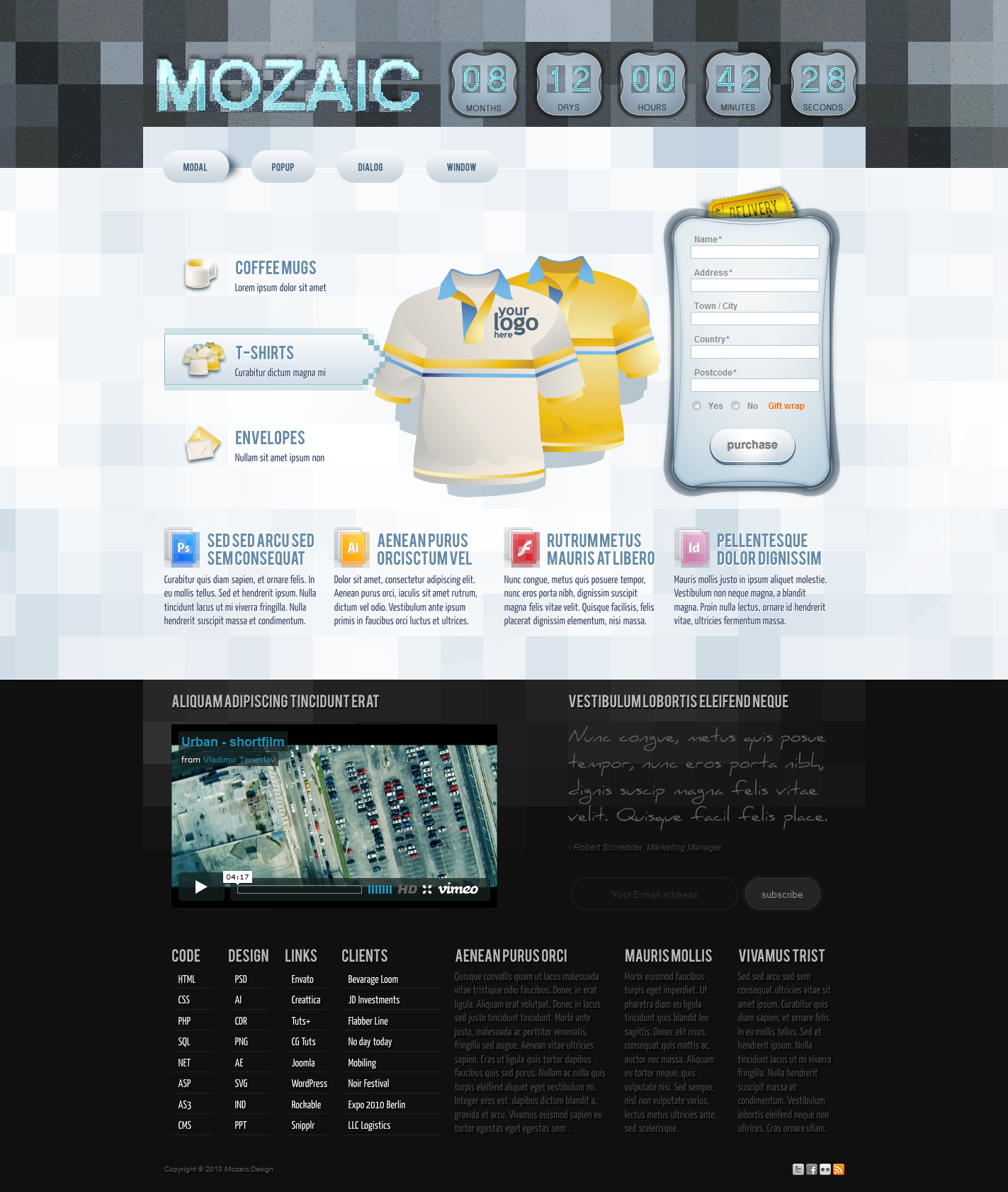 Mozaic Landing Page Template - mozaic layout