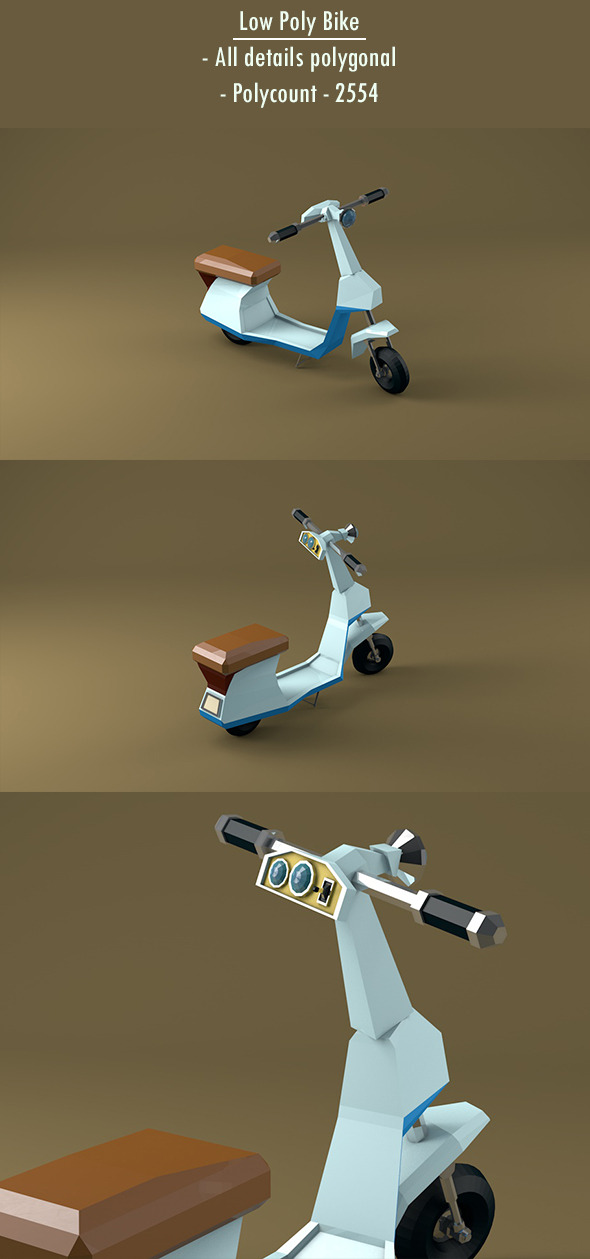 3DOcean Low Poly Bike Motorcycle 12351203
