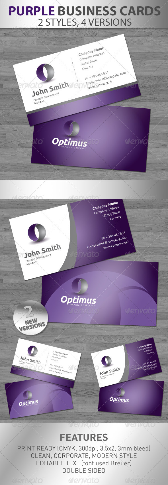 Purple Corporate Business Cards - Business Cards Print Templates