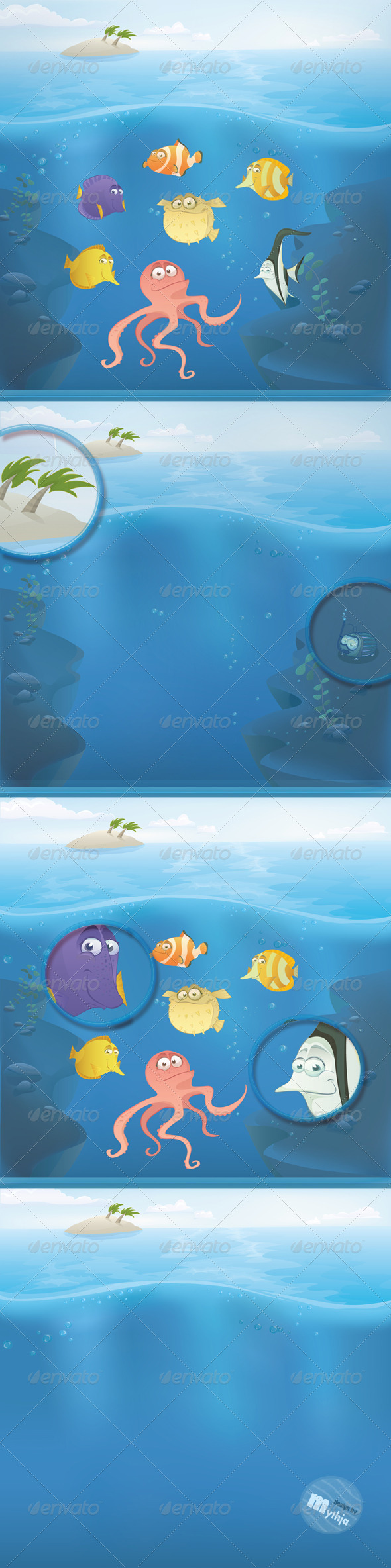 GraphicRiver Vector Fish Set with Summer Landscape 1237556