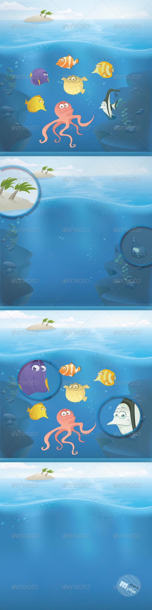 Vector Fish Set with Summer Landscape - Characters Vectors