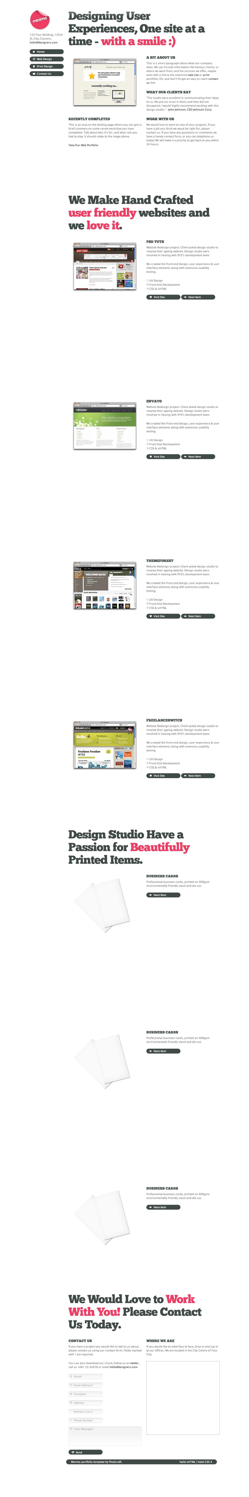 Minimo - A minimal one page portfolio theme