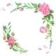 Vintage Watercolor Rose Corners