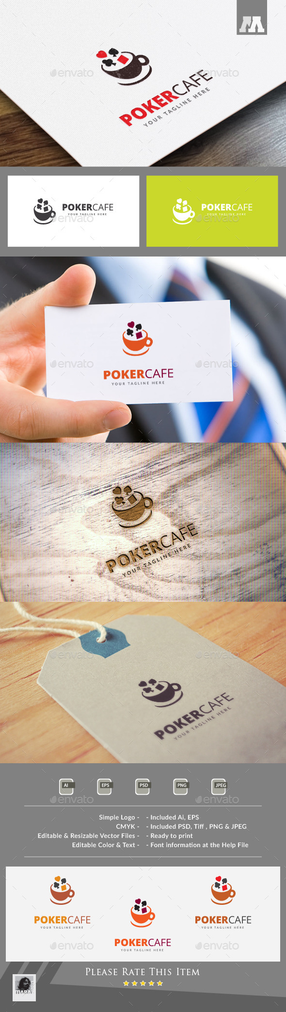 Poker Cafe Logo Template