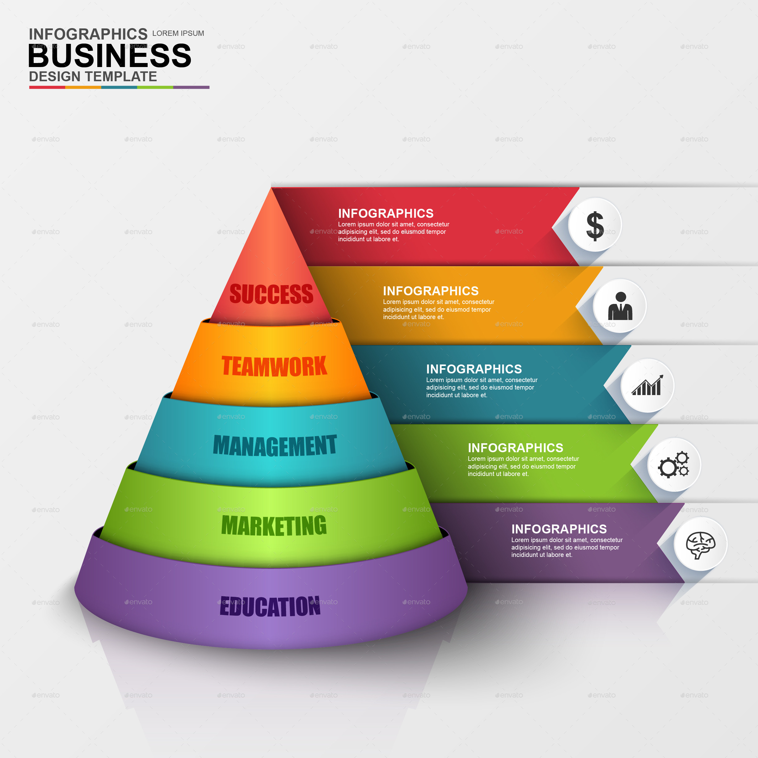Abstract 3d Digital Business Pyramid Infographic By Alexdndz Graphicriver