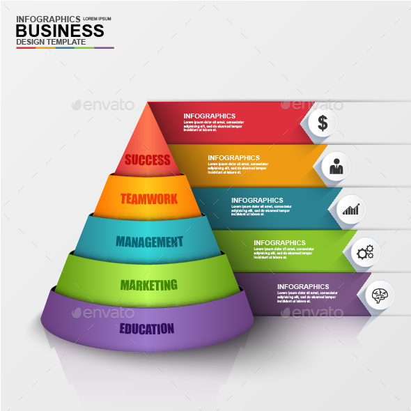 Abstract 3d Digital Business Pyramid Infographic By