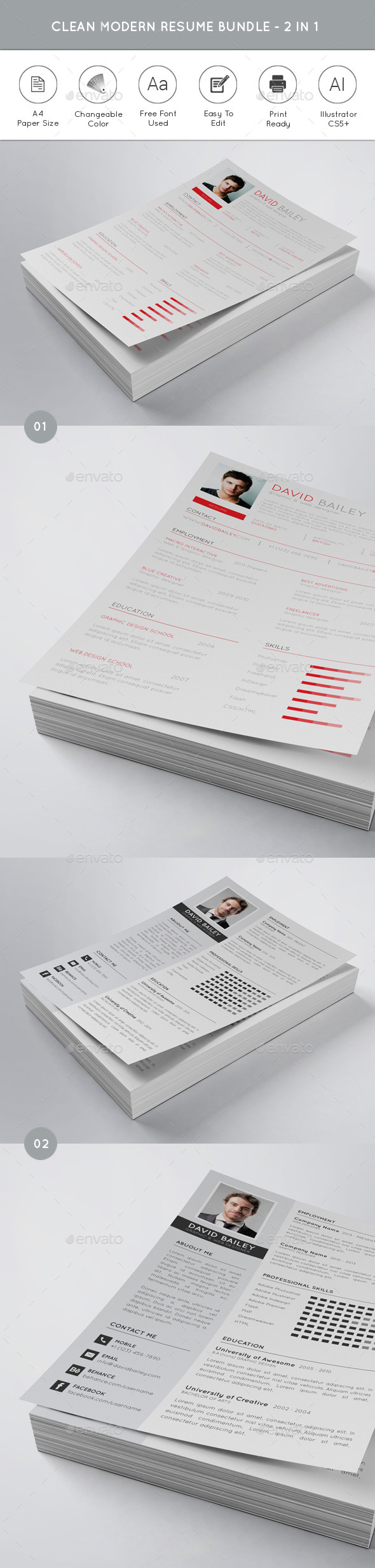 Clean Modern Resume Bundle - 2 in 1