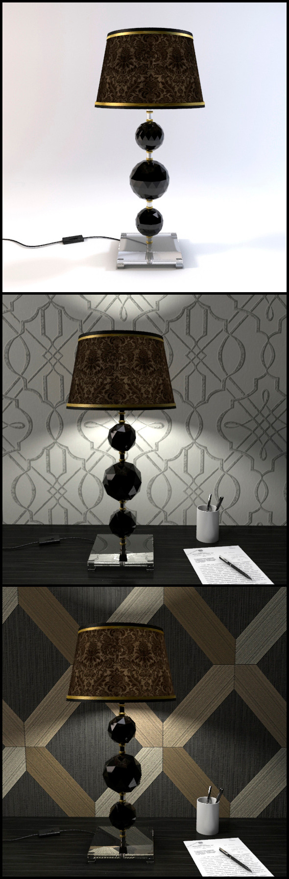 3DOcean Glass Geosphere Table Lamp #1 12367154