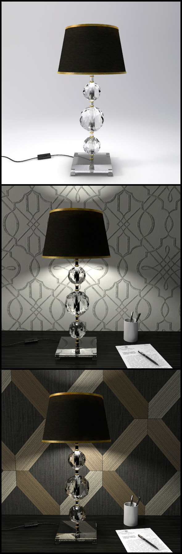 3DOcean Glass Geosphere Table Lamp #8 12368337