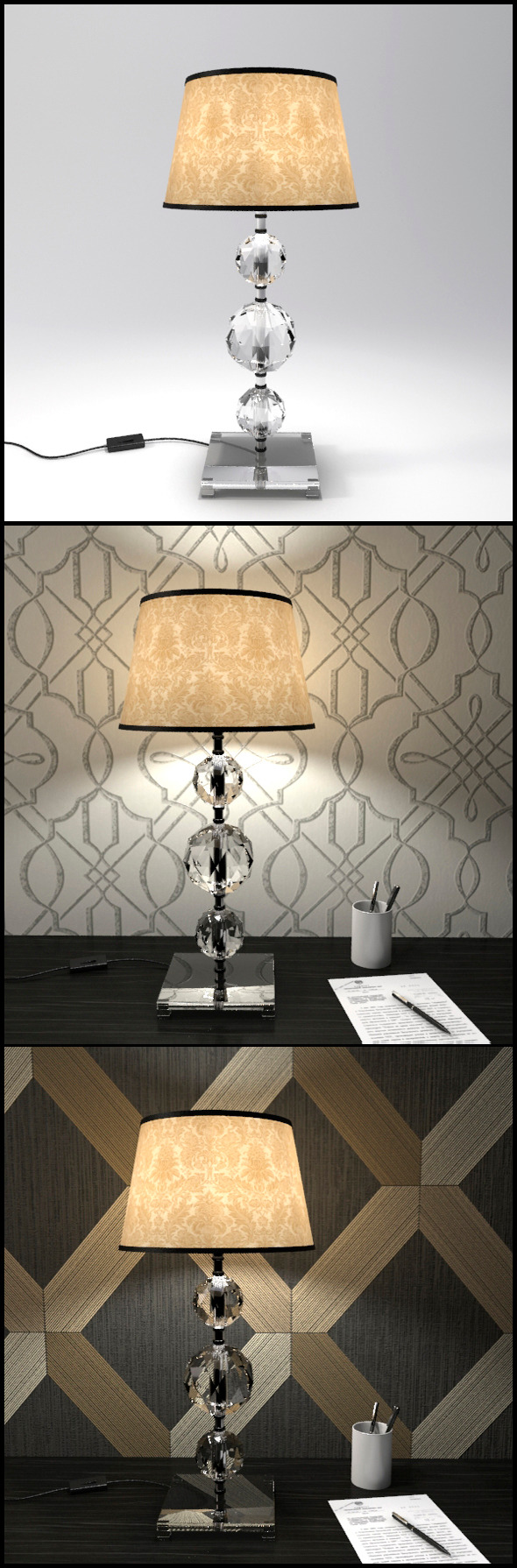 3DOcean Glass Geosphere Table Lamp #6 12368364