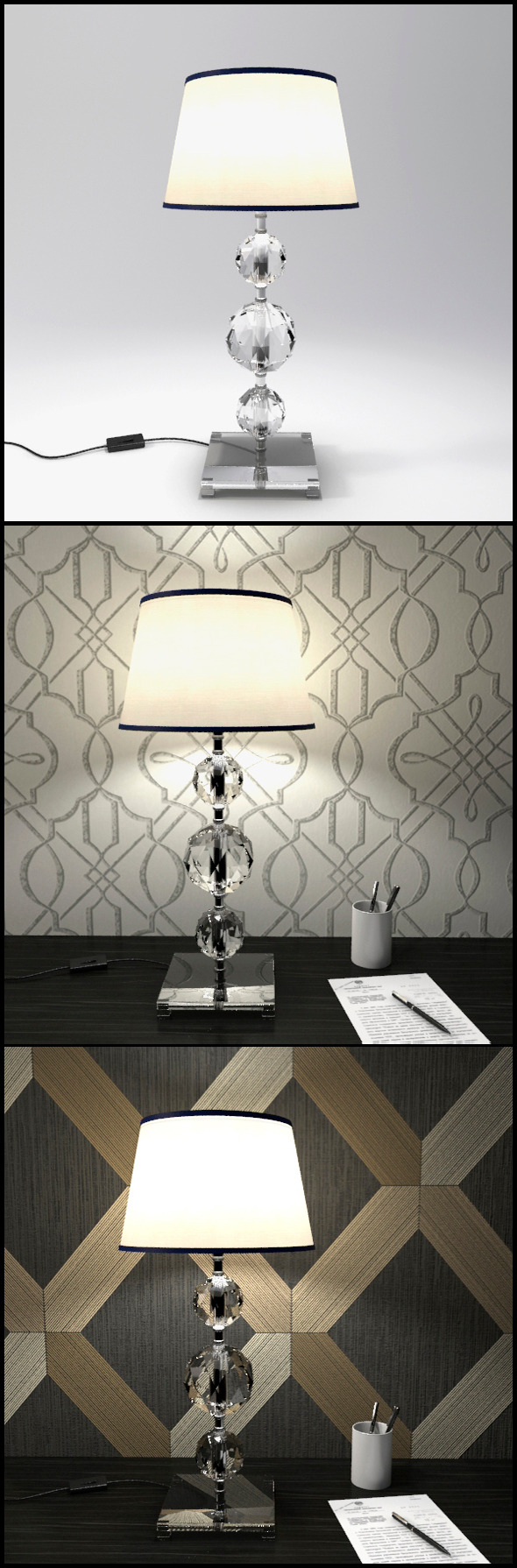3DOcean Glass Geosphere Table Lamp #7 12368377