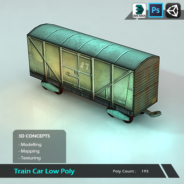 Train Car Low Poly - 3DOcean Item for Sale