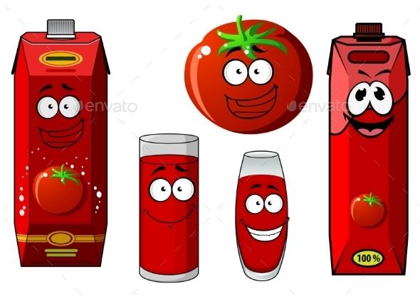 Cartoon Tomato Vegetable And Juice Packs