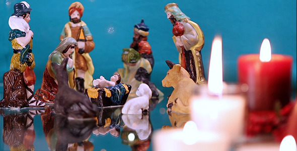 Christmas Nativity Scene with Candles 2