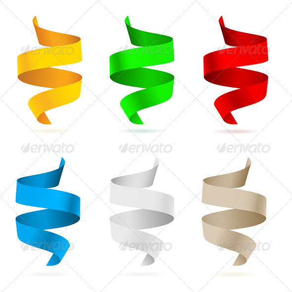 Beautiful colored ribbons - Characters Vectors