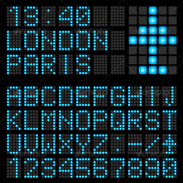 GraphicRiver Set of letters on a mechanical timetable 1238608