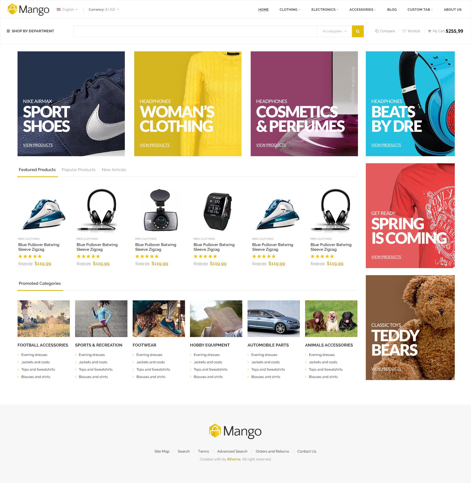 html header menu templates - mango responsive ecommerce html5 template by 8theme