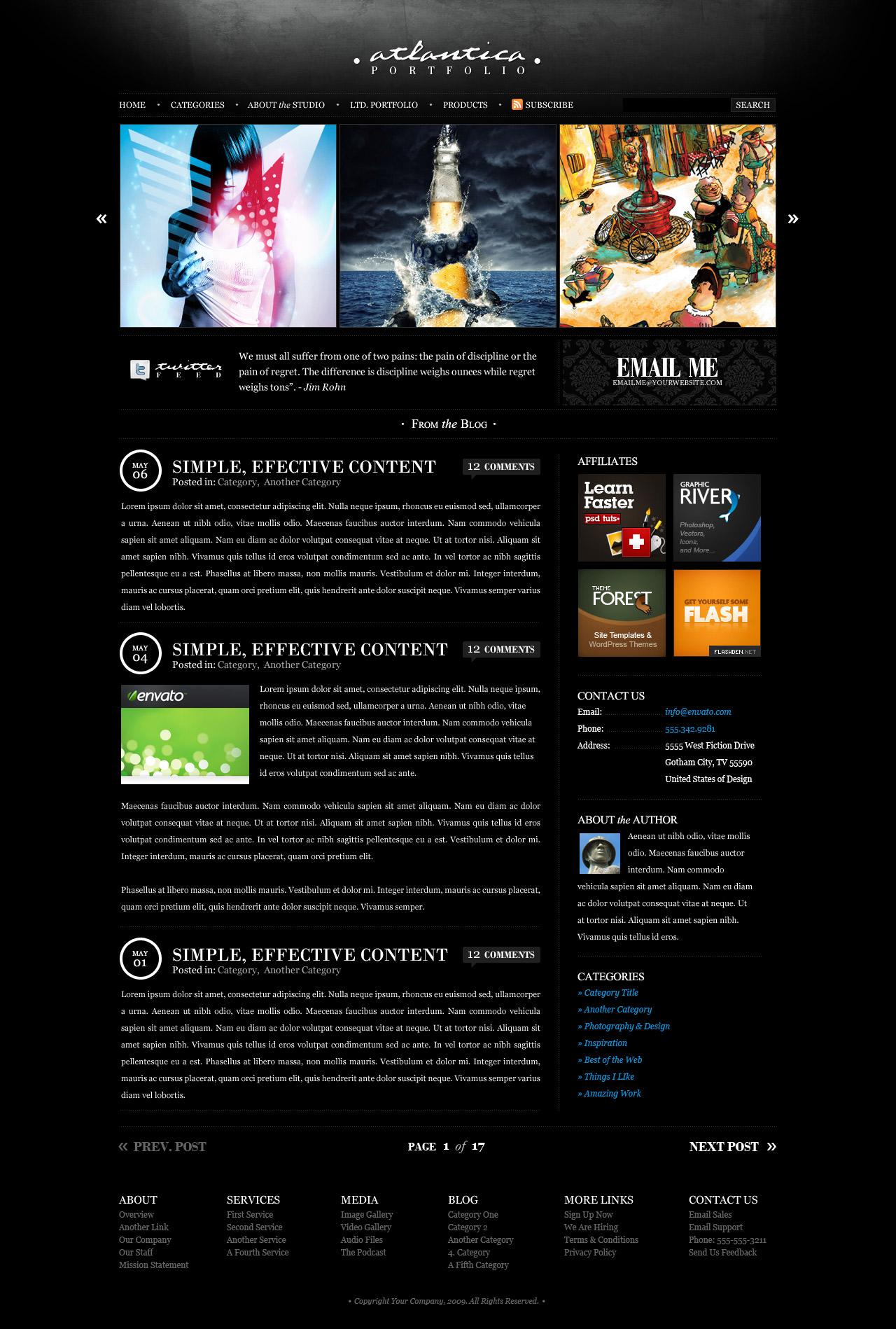 Dark Atlantica (HTML) - Premium Portfolio Template