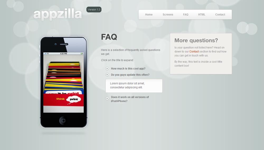 Appzilla - App/Portfolio theme (4 skins) - FAQs