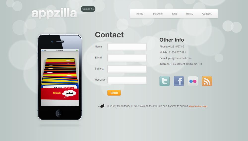 Appzilla - App/Portfolio theme (4 skins) - Contact
