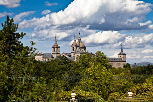 San Lorenzo de El Escorial Monastery Spires, Spain on a Sunny Day - Stock Photo - Images