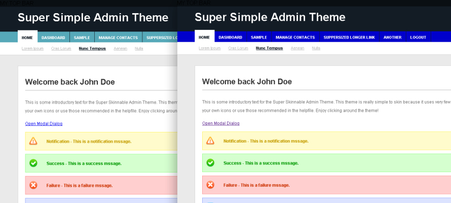 Super Simple Admin Theme - Theme Screenshot - Aqua (default) and Blue