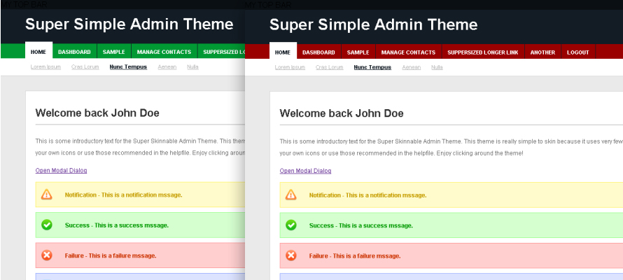 Super Simple Admin Theme - Theme Screenshot - Green and Red