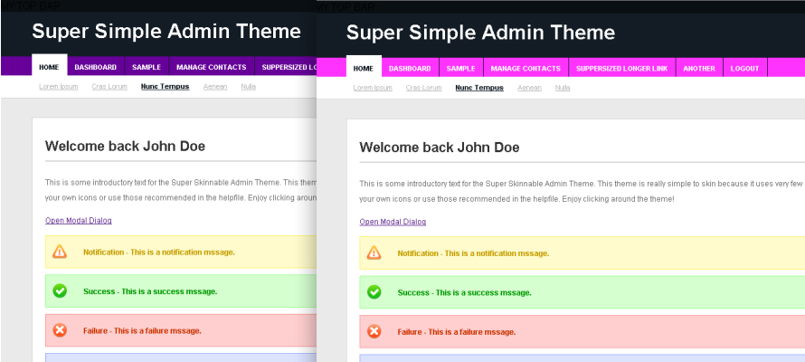 Super Simple Admin Theme - Theme Screenshot - Purple and Pink