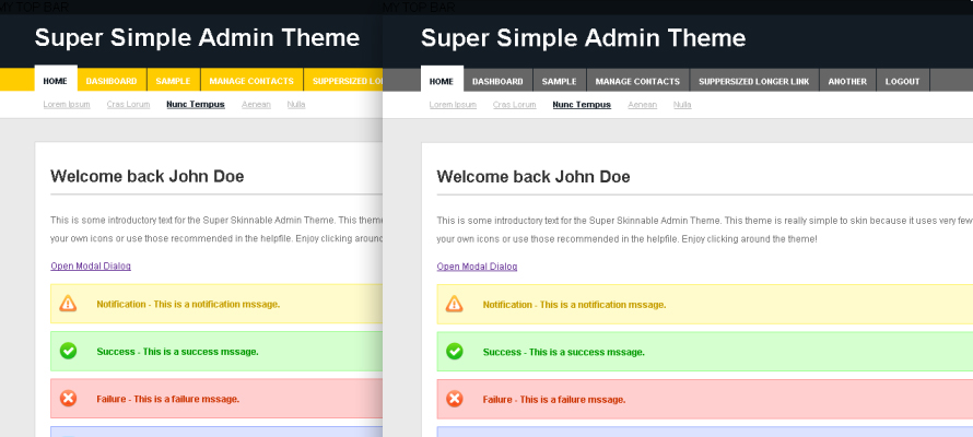 Super Simple Admin Theme - Theme Screenshot - Yellow and Grey