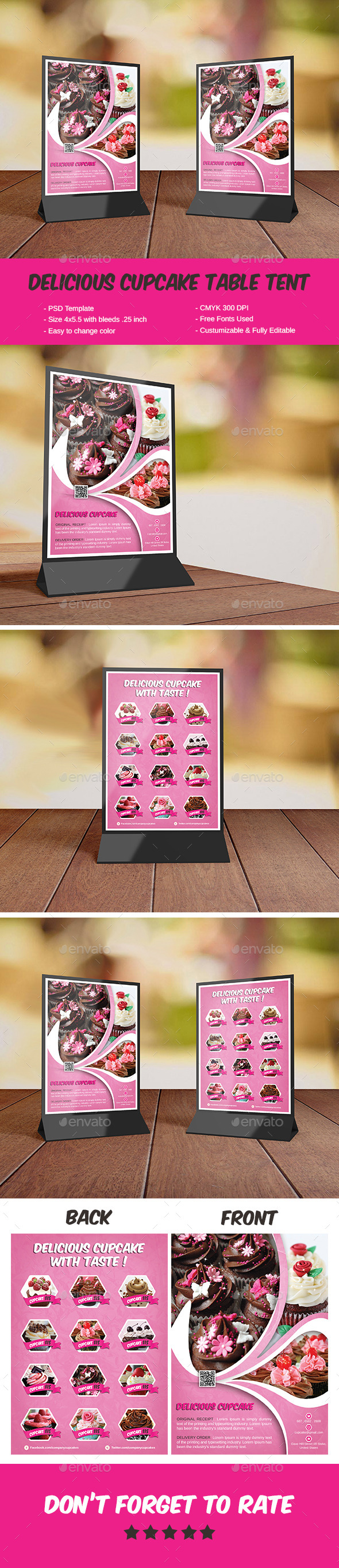 Delicious Cupcake Table Tent