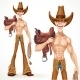Cowboy Naked to the Waist with a Saddle