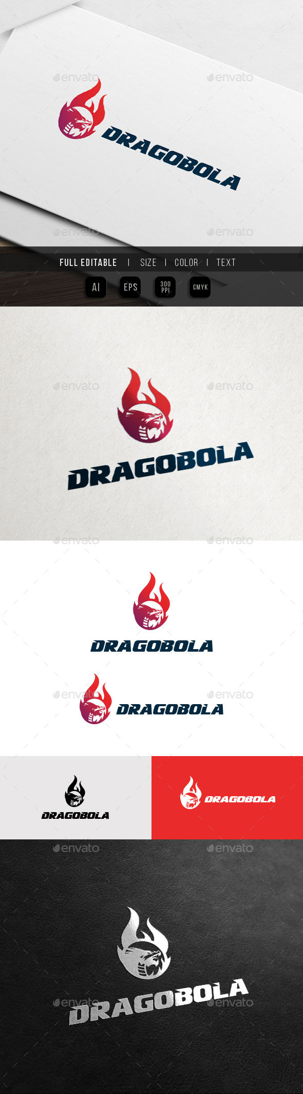 Dragon Flame - Fire Ball - Game Team Logo