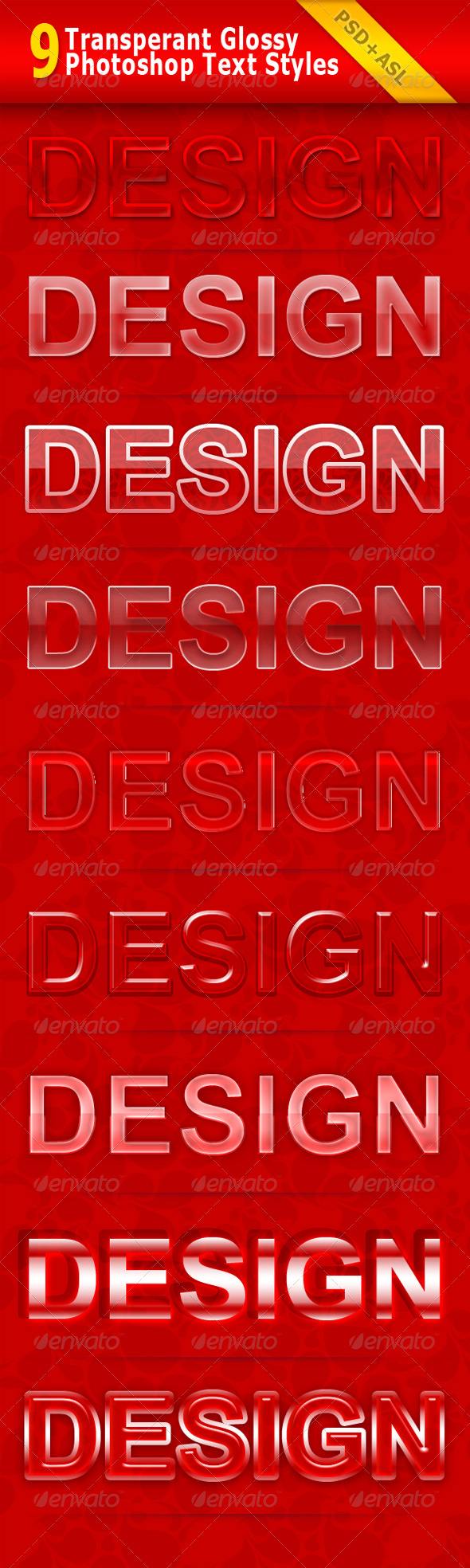 GraphicRiver 9 Transparent Glossy Photoshop Text Styles 150545