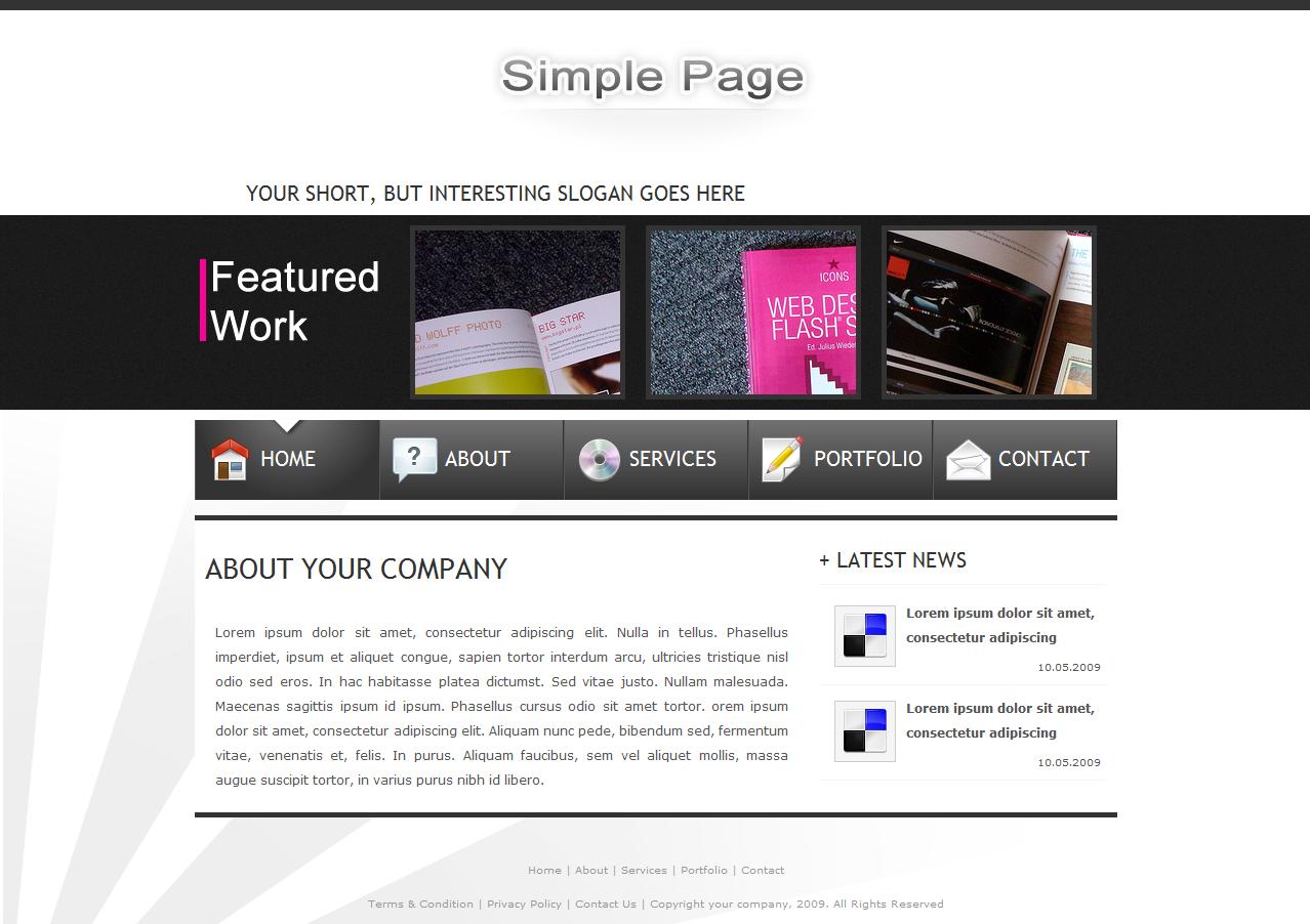 SimplePage - Site template + Portfolio - Home page.