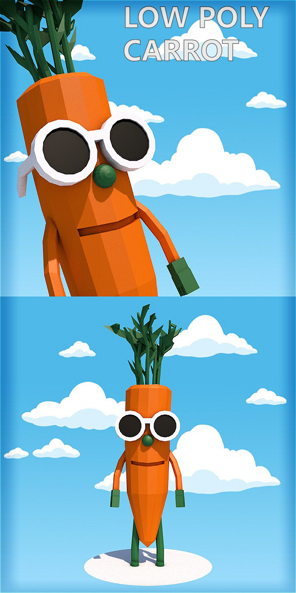 Low poly carrot character - 3DOcean Item for Sale