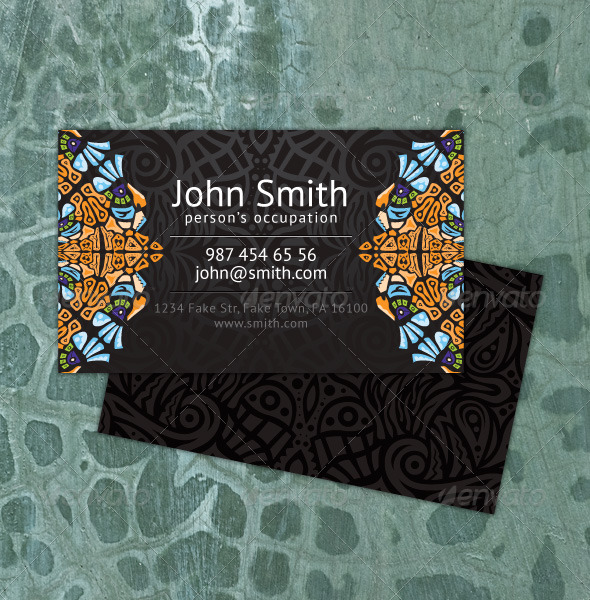 Psychedelic ornament business card