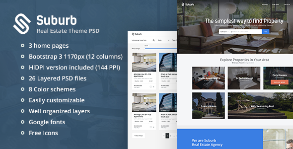 Suburb - Real Estate PSD theme