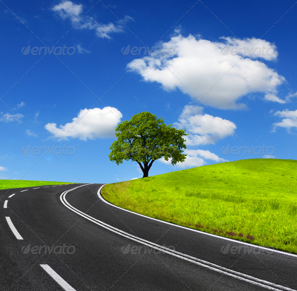 Road and green landscape - Stock Photo - Images