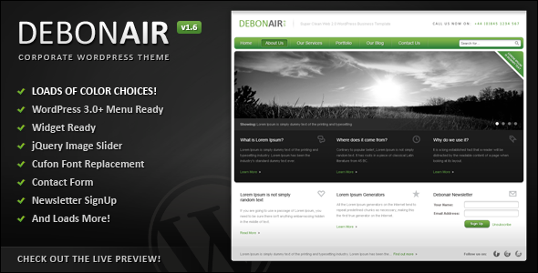 ThemeForest Debonair Corporate WordPress Theme 419633