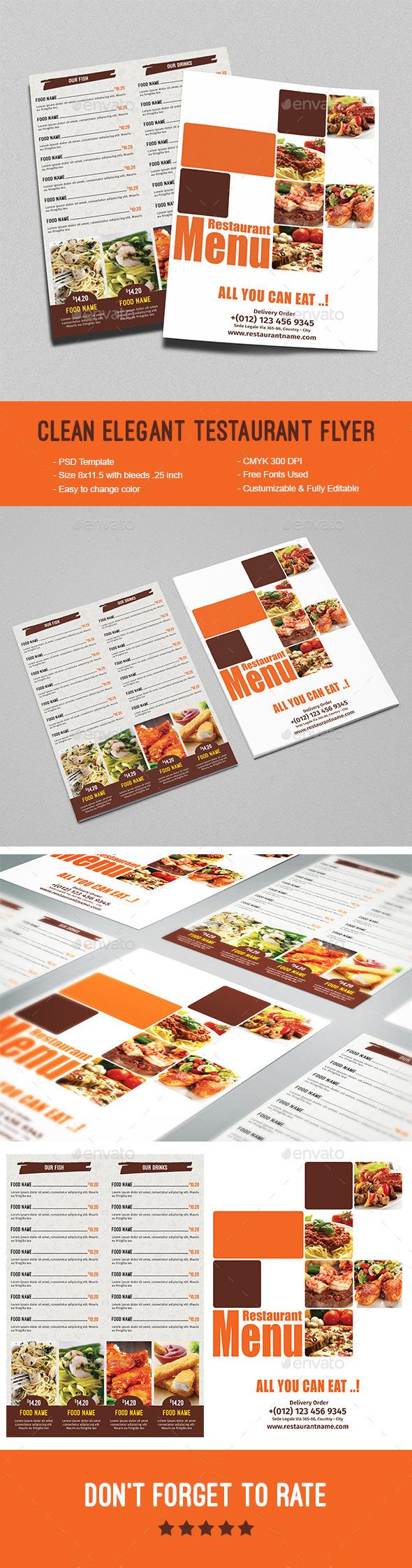 Clean Elegant Restaurant Flyer