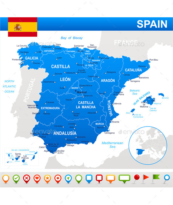 Spain Map Flag and Navigation Icons