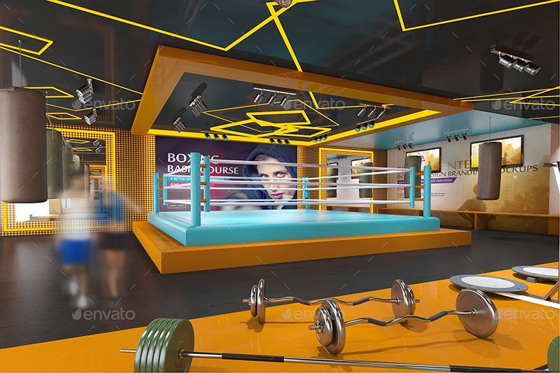 Fitness amp Gym Interior Design Branding Mockups By Wutip